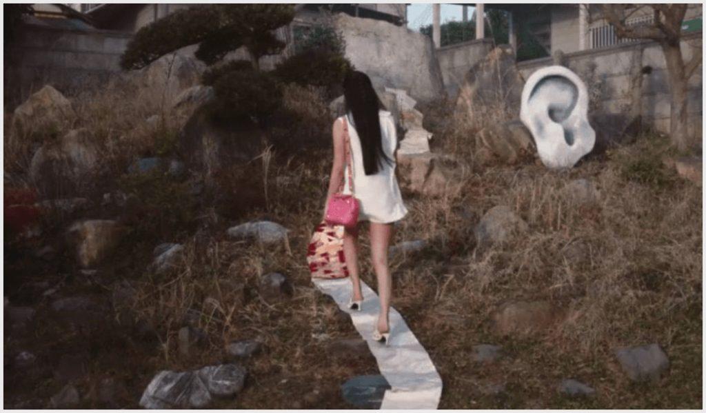 ヴァレンティノ帯CM、着物の帯の上をヒールで歩くkoki